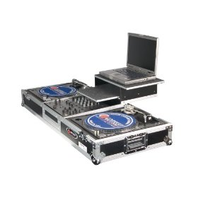 Odyssey FZGSBM12W Flight Zone Glide Style Ata Dj Coffin With Wheels For A 12 Mixer And Two Turntables In Battle Position