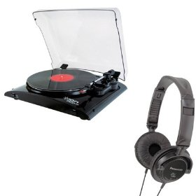 Ion Audio Profile LP USB DJ Turntable + Bonus RP-DJ120 Headphones Kit