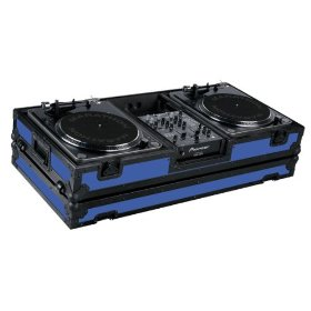 Marathon Flight Ready MA-DJ10Wblkblue Battle Blue Black Series Coffin Holds 2 Turntables with 10-Inch Mixer with Low Profile Wheels