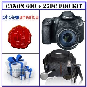 Canon EOS 60D 18 MP CMOS Digital SLR Camera w/ Canon EF-S 18-135mm f/3.5-5.6 IS Lens + 3-Year Extended Warranty for Canon EOS D-SLRs + 16GB Bonus Photographers Package # 1