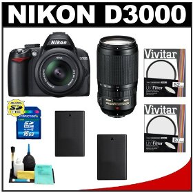 Nikon D3000 10MP Digital SLR Camera with 18-55mm f/3.5-5.6G AF-S DX VR Nikkor Zoom Lens & 70-300mm VR Zoom Lens with 16GB Card + (2x) EN-EL9a Battery + UV Filters + Cleaning Kit