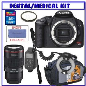 Canon Digital Rebel XSi 12MP Digital SLR Camera + Canon EF 100mm f/2.8L Macro IS USM Lens + 8GB Secure Digital Medical/Dental Accessory Kit