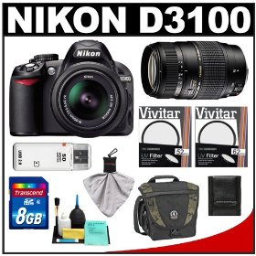 Nikon D3100 Digital SLR Camera & 18-55mm VR + Tamron 70-300mm Di Lens with 8GB Card + Filters + Tamrac Case + Accessory Kit