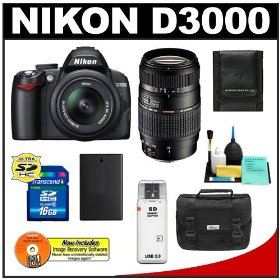 Nikon D3000 10MP Digital SLR Camera with 18-55mm f/3.5-5.6G AF-S DX VR Nikkor Zoom Lens with Tamron 70-300mm Di LD Zoom Lens (Nikon MT) + 16GB Card + EN-EL9a Battery + Nikon Gadget Bag + Accessory Kit