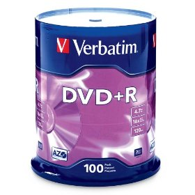 Verbatim 95098 4.7 GB 1x-16x Branded Recordable Disc DVD+R, 100 Disc Spindle