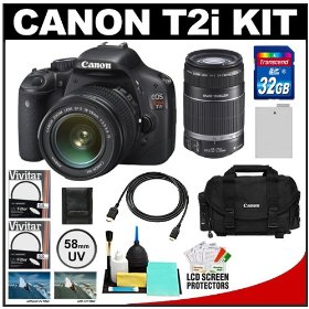 Canon EOS Rebel T2i Digital SLR Camera Body & EF-S 18-55mm IS Lens (Black) with Canon EF-S 55-250mm Lens + 32GB Card + Battery + Canon 2400 DSLR Gadget Bag Case + HDMI Cable + Filters Kit