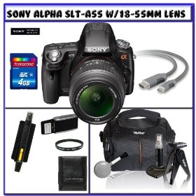 Sony Alpha DSLR-SLT-A55 16.2MP Digital Camera with Sony SAL1855 18-55mm f/3.5-5.6 DT AF Zoom Lens + 14Pc Starter Pack # 1