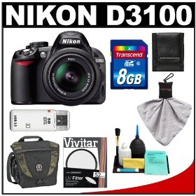 Nikon D3100 Digital SLR Camera & 18-55mm VR Lens with 8GB Card + Filter + Tamrac Case + Accessory Kit