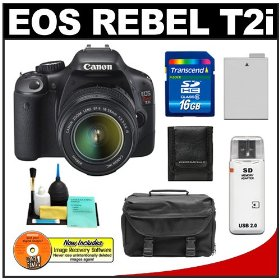 Canon EOS Rebel T2i Digital SLR Camera & 18-55mm IS Lens + 16GB Card + Battery + Case + Accessory Kit