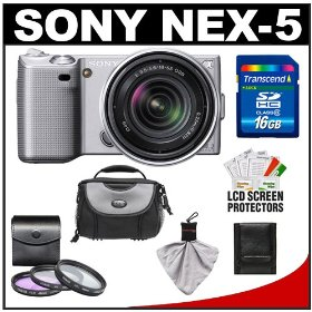Sony Alpha NEX-5 Digital Camera Body & E 18-55mm OSS Compact Interchangeable Lens (Silver) with 16GB Card + Battery + Case + Accessory Kit