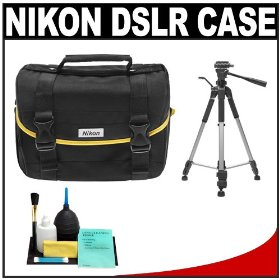 Nikon Starter Digital SLR Camera Case - Gadget Bag with Tripod + Cleaning Kit for D7000, D5000, D3100, D3000, D60, & D40