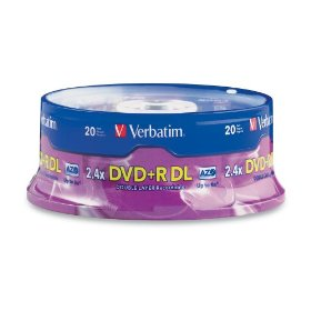 Verbatim 95310 8.5 GB 2.4x-6x Double Layer Recordable Disc DVD+R DL, 20-Disc Spindle