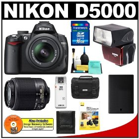 Nikon D5000 Digital SLR Camera w/ 18-55mm VR Lens & 55-200mm VR Zoom Lens with Sunpak PF30X Flash + 16GB Memory Card + Spare EN-EL9 Battery + Case + Cameta Bonus Accessory Kit + Nikon School DVD