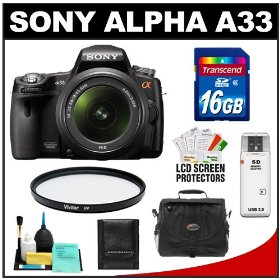 Sony Alpha A33 SLTA33L 14.2 MP Translucent Mirror Technology Digital SLR Camera & 18-55mm Lens with 16GB Card + Case + UV Filter + Cleaning & Accessory Kit