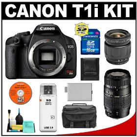 Canon EOS Rebel T1i Digital SLR Camera Body + Tamron 28-80mm Zoom Lens + Tamron 70-300mm Di LD Macro Zoom Lens + 16GB Card + LP-E5 Battery + Case + Cameta Bonus Accessory Kit