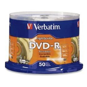 Verbatim 96166 4.7 GB 16x LightScribe Gold Recordable Discs DVD-R, 50-Disc Spindle