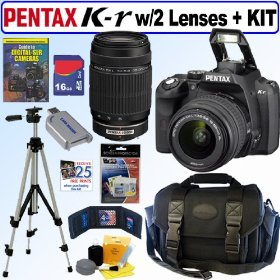 Pentax K-r 12.4 MP Digital SLR Camera with 18-55mm f/3.5-5.6 Lens and 55-300mm f/4-5.8 Extreme Telephoto Range Zoom Lens (Black) + 16GB Deluxe Accessory Kit