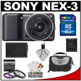 Sony Alpha NEX-3 Digital Camera Body & E 16mm f/2.8 Compact Interchangeable Lens (Black) with 16GB Card + Battery + Case + Accessory Kit