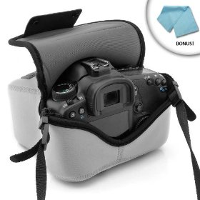 USA Gear dSLR Neoprene FlexSleeve for CANON EOS 10D, 20D, 20Da, 3, 300D, 30D, 40D, 50D, 5D, 5D Mark II, 7D, D30, D60 Digital Rebel, EOS-1V / 1VHS, Rebel XS, XSi, XT, XTi, K2, T2, T1, T1i, T2i, 400D, 450D, 500D, 1000D ***Includes Microfiber Cleaning Cloth