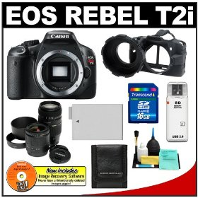 Canon EOS Rebel T2i 18.0MP Digital SLR Camera (Black) with Tamron 28-80mm & 70-300mm Zoom Lens + 16GB Card + Battery + Camera Armor Case + Accessory Kit