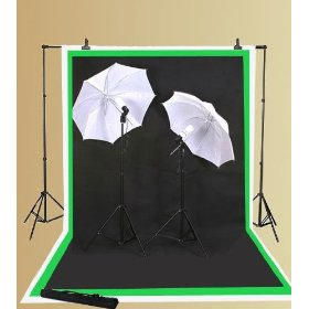 EPhoto Photography Video Lighting Light Kit & 3 Muslins Backdrop Background Chroma Key Chromakey Black White Green Screen Photo Portrait Studio Umbrella Cool Fluorescent Continuous Lighting Kit By Ephoto INC ULS69