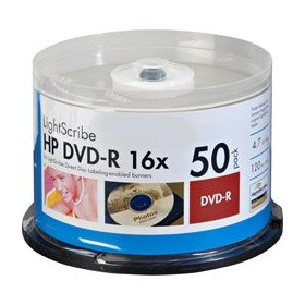 50PK DVD-R 16X CAKE BOX LIGHTSCRIBE HP BRANDED