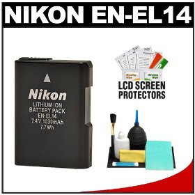 Nikon EN-EL14 Rechargeable Li-ion Battery with Cleaning Kit for Coolpix P7000 & D3100 Digital SLR Camera