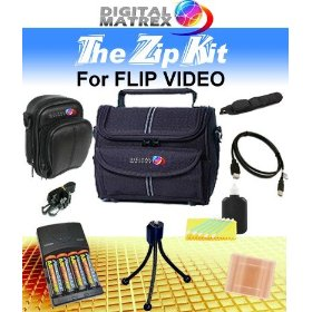 Digital Matrex FLIP VIDEO DELUXE Accessories pack. With Deluxe Camera Case, Small leatherette camera case, Wire Tripod, 4-2900mAh batteries/Charger, USB ext cable and battery case. (NON OEM)