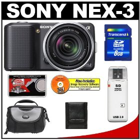 Sony Alpha NEX-3 Digital Camera Body & E 18-55mm OSS Compact Interchangeable Lens (Black) with 8GB Card + Battery + Case + Accessory Kit