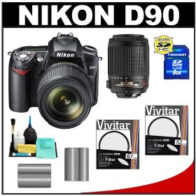 Nikon D90 Digital SLR Camera with 18-105mm + 55-200mm AF-S DX VR Zoom-Nikkor Lens + 8GB Card + (2x) UV Filters + (2x) EN-EL3e Batteries + Accessory Kit