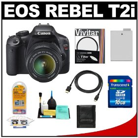 Canon EOS Rebel T2i Digital SLR Camera & 18-55mm IS Lens + 16GB Card + Battery + UV Filter + Accessory Kit