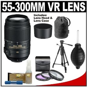 Nikon 55-300mm f/4.5-5.6G VR DX AF-S ED Zoom-Nikkor Lens with HB-57 Hood & Pouch Case + 3-Piece Filter Set + Tripod + Cleaning Accessory Kit for D40, D60, D90, D300s, D3000, D3100, D5000 & D7000 Digital SLR Cameras