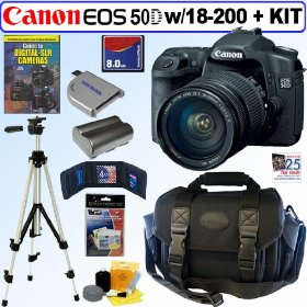 Canon EOS 50D 15.1MP Digital SLR Camera with EF-S 18-200mm f/3.5-5.6 IS Standard Zoom Lens + 8GB Deluxe Accessory Kit