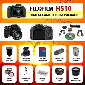 Fujifim HS10 10MP Digital Point and Shoot Camera (Black) + Wide Angle Lens + 2x Telephoto Lens + Filter Kit + Digital Flash + 8GB SD Card + Card Reader + Carrying Case + Tripod + Starter kit & MUCH MORE!