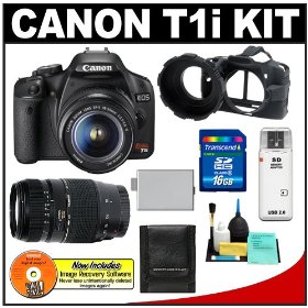 Canon EOS Rebel T1i 15.1MP Digital SLR Camera (Black) w/ EF-S 18-55mm IS & Tamron 70-300mm Zoom Lens with 16GB SD Card + LP-E5 + Camera Armor + Accessory Kit