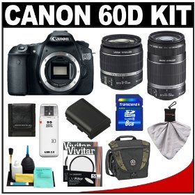 Canon EOS 60D Digital SLR Camera Body with 18-55mm IS & 55-250mm IS Lens + 8GB Card + Battery + Tamrac Case + Accessory Kit