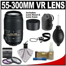 Nikon 55-300mm f/4.5-5.6G VR DX AF-S ED Zoom-Nikkor Lens with HB-57 Hood & Pouch Case + 3-Piece Filter Set + Cleaning Accessory Kit for D40, D60, D90, D300s, D3000, D3100, D5000 & D7000 Digital SLR Cameras
