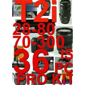 Canon EOS Digital Rebel T2I / 550D With 28-80mm and 75-300mm 36 Piece Pro kit +++