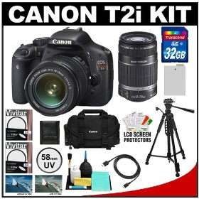 Canon EOS Rebel T2i Digital SLR Camera Body & EF-S 18-55mm IS Lens (Black) with 55-250mm IS Lens + 32GB Card + Battery + Canon 2400 DSLR Gadget Bag Case + Tripod + HDMI Cable + Filters Kit