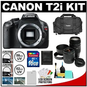 Canon EOS Rebel T2i Digital SLR Camera + Tamron 28-80mm & 70-300mm Lenses + 16GB Card + Battery + Canon 2400 DSLR Gadget Bag Case + UV Filters