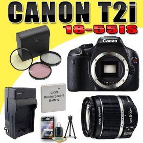 Canon EOS Rebel T2i 18 MP CMOS APS-C Digital SLR Camera w/ EF-S 18-55mm f/3.5-5.6 IS Lens DavisMAX LPE8 Battery/Charger Filter Kit Bundle