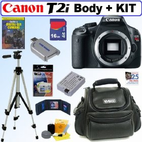 Canon EOS Rebel T2i 18 MP CMOS APS-C Digital SLR Camera with 3.0-Inch LCD (Body) + 16GB Deluxe Accessory Kit