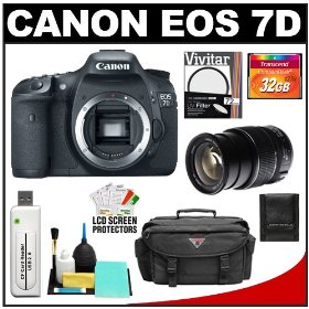 Canon EOS 7D Digital SLR Camera Body + 32GB Card + UV Filter + Case & Accessory Cleaning Kit