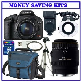 Dental-Medical Digital SLR OutFits: Canon EOS Rebel T1i 15.1 MP CMOS Digital SLR Camera [Body] + Sigma Flash Macro Ring EM-140 DG for Canon SLR Cameras + Sigma 70mm F/2.8 EX DG Macro Lens + Willoughby's Dental/Medical Accessory Bundle
