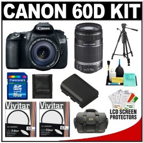 Canon EOS 60D Digital SLR Camera Body with EF-S 18-135mm IS Lens & 55-250mm IS Lens + 16GB Card + Battery + Case + Tripod + Accessory Kit