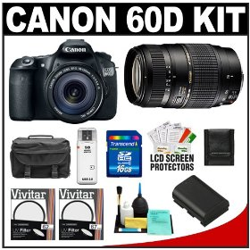 Canon EOS 60D Digital SLR Camera Body with EF-S 18-135mm IS Lens & Tamron 70-300mm Di Lens + 16GB Card + Battery + Case + Accessory Kit