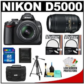 Nikon D5000 Digital SLR Camera & 18-55mm AF-S G VR Zoom Lens & 55-300mm VR Zoom Lens with 16GB Card + Filters + Case + Tripod + Accessory Kit