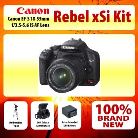 Canon EOS Digital Rebel xSi (EOS-450D) Digital SLR Camera With 18-55mm IS Lens Kit + Medium Size Tripod + Soft Deluxe Carrying Case + Extra Extended Life Battery