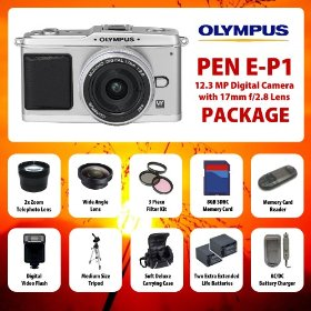 Olympus PEN E-P1 12.3 MP Digital Camera with 17mm f/2.8 Lens (Silver) KIT including Wide Angle Lens + 2x Telephoto Lens + Filter Kit + 2 Extended Life Batteries + Charger + Digital Flash + 8 GB SD Card + Card Reader + MORE!
