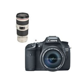Canon EOS-7D Digital SLR Camera / Lens Kit, with Canon EF-S 18-135mm f/3.5-5.6 IS Auto Focus Lens, and Canon EF 70-200mm f/4L IS USM Autofocus Telephoto Zoom Lens